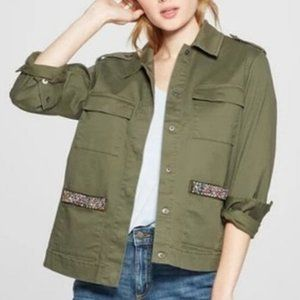 Women's Military Jacket with Pocket Beading